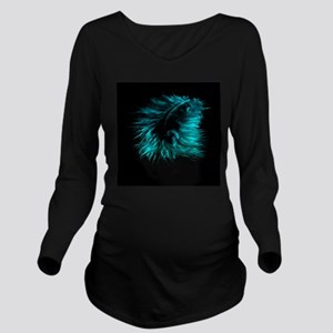 Feather teal Long Sleeve Maternity T-Shirt