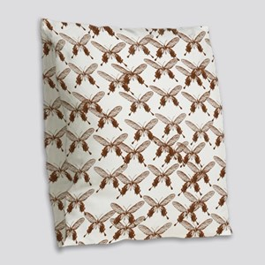 Vintage Butterflies Burlap Throw Pillow