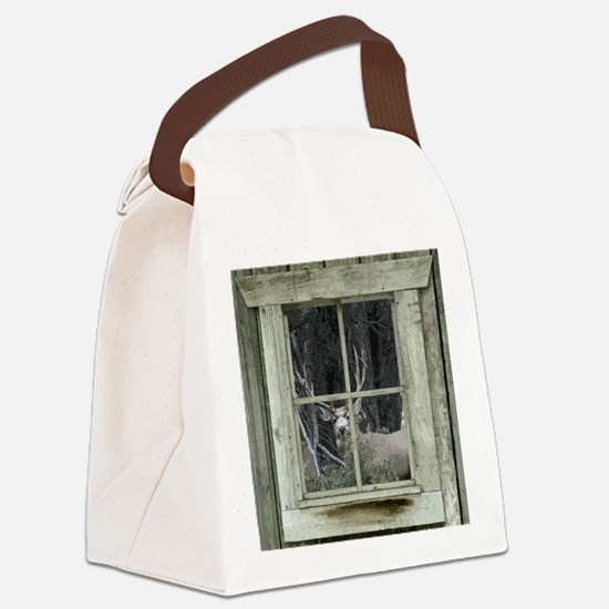 Old Cabin Window Buck 1 Canvas Lunch Bag