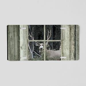 Old Cabin Window Buck 1 Aluminum License Plate