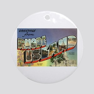 Greetings from Rhode Island Ornament (Round)