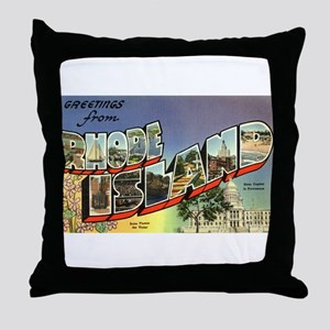 Greetings from Rhode Island Throw Pillow