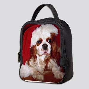 Santa Cavalier Spaniel Puppy Neoprene Lunch Bag