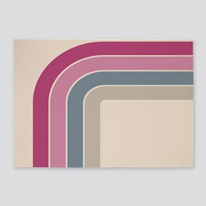 Retro Vintage Pink Curve 5'x7'Area Rug