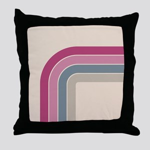 Retro Vintage Pink Curve Throw Pillow