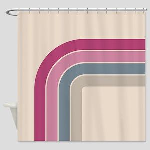 Retro Vintage Pink Curve Shower Curtain