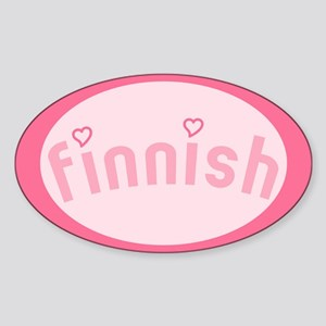 """Finnish with Hearts"" Oval Sticker"