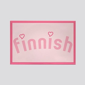 """Finnish with Hearts"" Rectangle Magnet"
