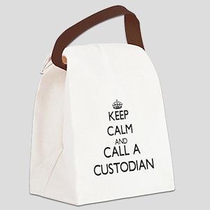 Keep calm and call a Custodian Canvas Lunch Bag