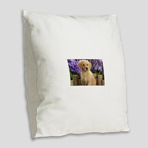 labrador puppy Burlap Throw Pillow
