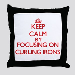 Keep Calm by focusing on Curling Iron Throw Pillow