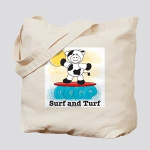 Surfing Cow Red Surfboard Tote Bag