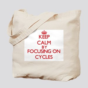 Keep Calm by focusing on Cycles Tote Bag
