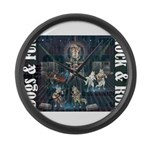 Dogs, Fun, and Rock Roll Large Wall Clock