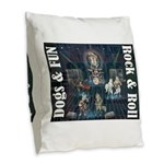 Dogs, Fun, and Rock Roll Burlap Throw Pillow