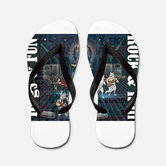 Dogs, Fun, and Rock Roll Flip Flops