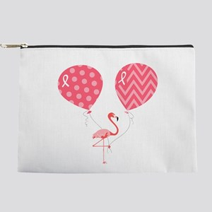 Pink Flamingo with Balloons Makeup Pouch