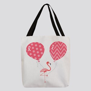 Pink Flamingo with Balloons Polyester Tote Bag