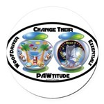 Change Their PAWtitude Round Car Magnet