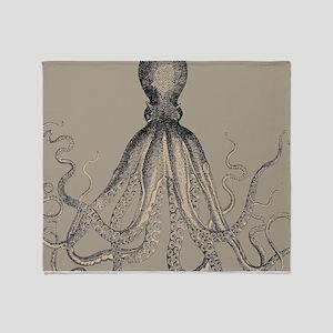 Vintage Octopus in Mocha duotone Throw Blanket