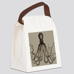 Vintage Octopus in Mocha duotone Canvas Lunch Bag