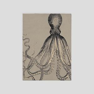 Vintage Octopus in Mocha duotone 5'x7'Area Rug