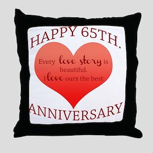 65th. Anniversary Throw Pillow
