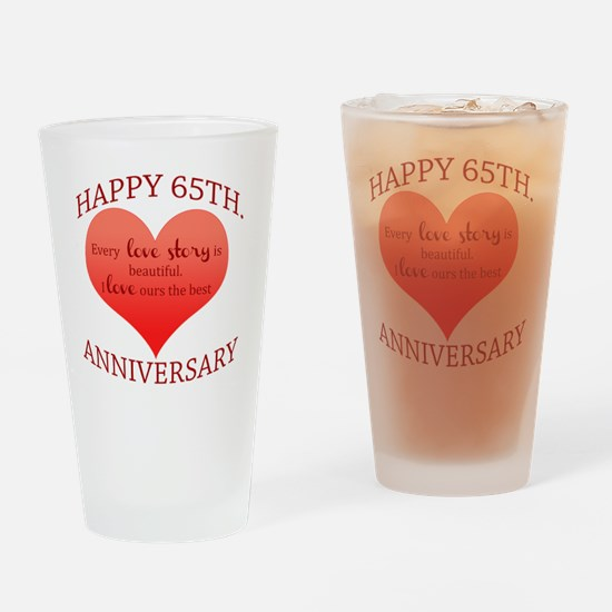 65th. Anniversary Drinking Glass