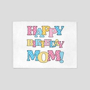 Happy Birthday Mom 5'x7'Area Rug
