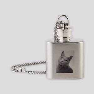 russian blue cat Flask Necklace