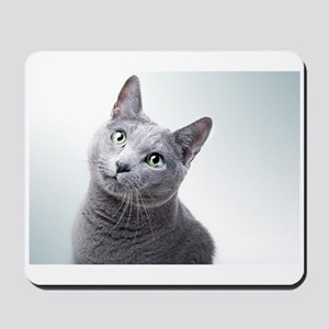 russian blue cat Mousepad