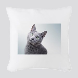 russian blue cat Woven Throw Pillow