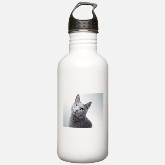russian blue cat Water Bottle