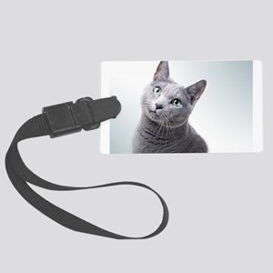 russian blue cat Large Luggage Tag