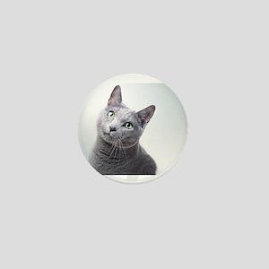 russian blue cat Mini Button