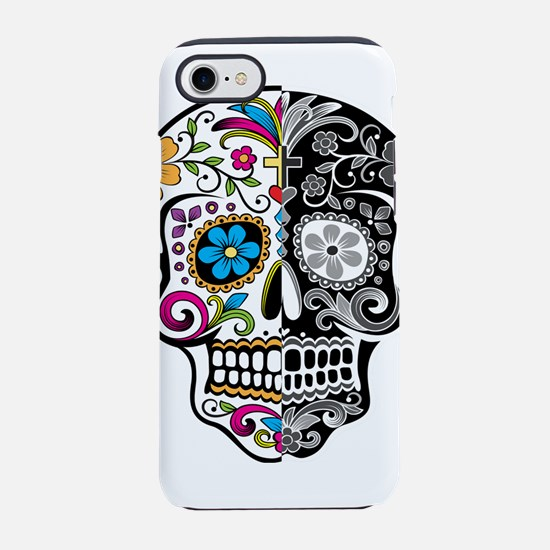 skull-day-of-dead-decorated-ca iPhone 7 Tough Case
