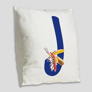 Bug Letter J Burlap Throw Pillow