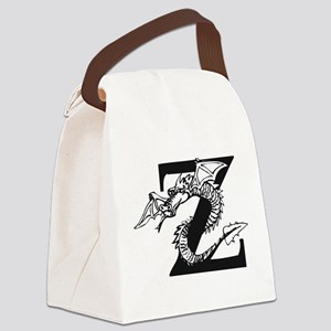 Black and White Dragon Letter Z Canvas Lunch Bag