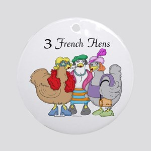3 French Hens Ornament (Round)