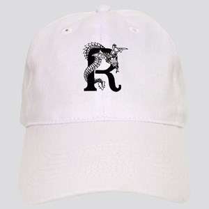 Black and White Dragon Letter R Baseball Cap