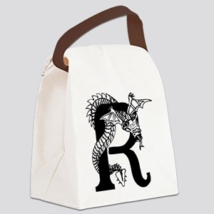 Black and White Dragon Letter R Canvas Lunch Bag
