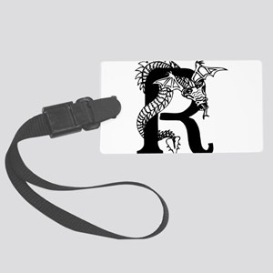 Black and White Dragon Letter R Luggage Tag