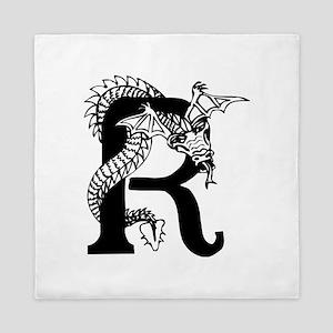 Black and White Dragon Letter R Queen Duvet