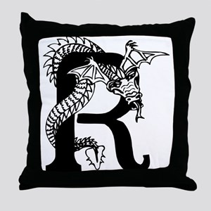 Black and White Dragon Letter R Throw Pillow