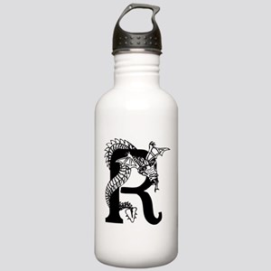 Black and White Dragon Letter R Water Bottle