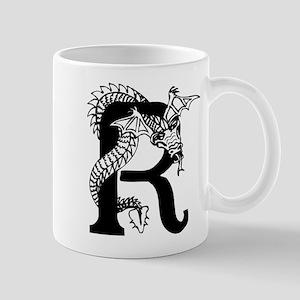 Black and White Dragon Letter R Mugs