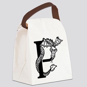 Black and White Dragon Letter P Canvas Lunch Bag