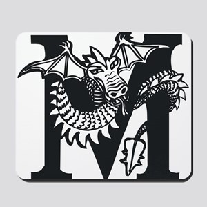 Black and White Dragon Letter M Mousepad