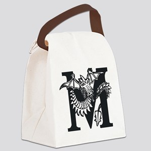 Black and White Dragon Letter M Canvas Lunch Bag