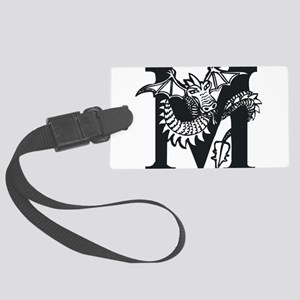 Black and White Dragon Letter M Luggage Tag